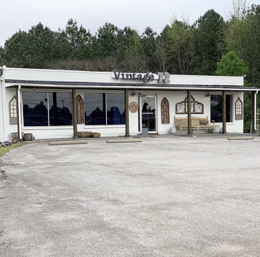 Vintage 72 in Madison, Alabama: Vintage 72 houses roughly 30 small businesses under one roof. Vendors range from custom builders to antique carriers to her own shop Wood + Cloth, which carries all brand new items.