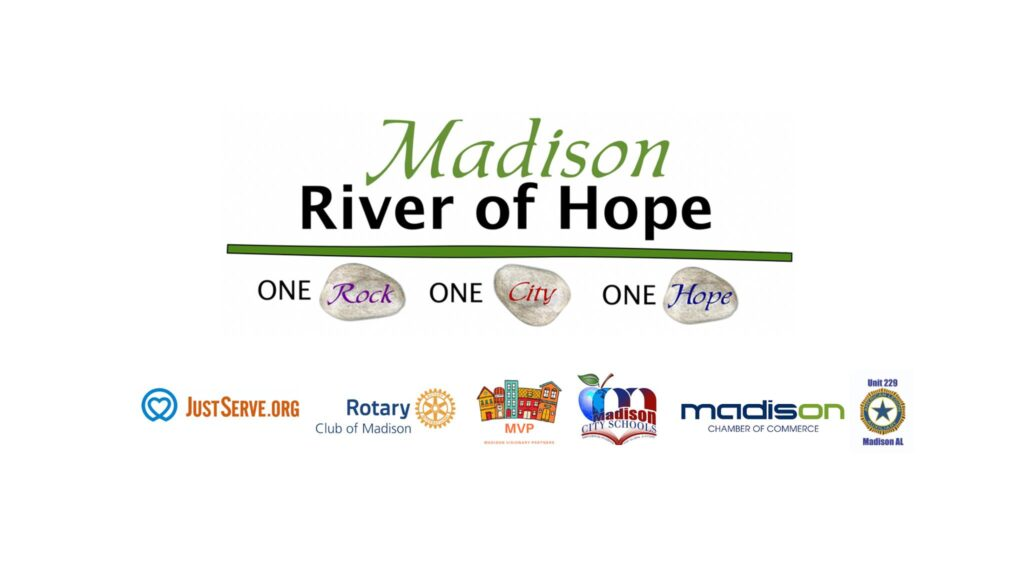 River of Hope in Madison, Alabama | Join Madison Visionary Partners as they create the Madison River of Hope and leave a permanent mark in our community as a sign and memory of a time when perseverance and socially-distant togetherness was needed the most.