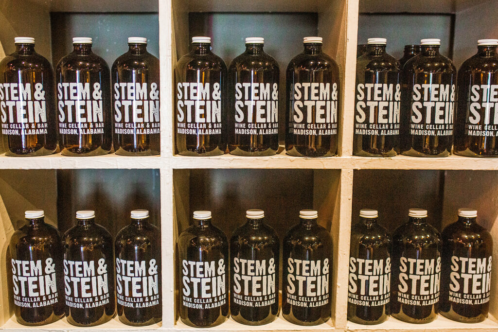 The Stem & Stein offers customers several options. First, they offer customers a dine-in opportunity, complete with lengthy wine and beer menus as well as appetizer selections and a short dinner menu (think paninis, pizzas, and salads!)