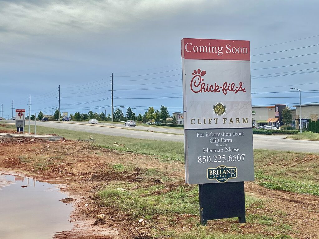 The new building will sit on an angle on the edge of the property in front of Publix. When one pulls into the main Clift Farm entrance in front of Publix, Chick-fil-A will be on the immediate right.