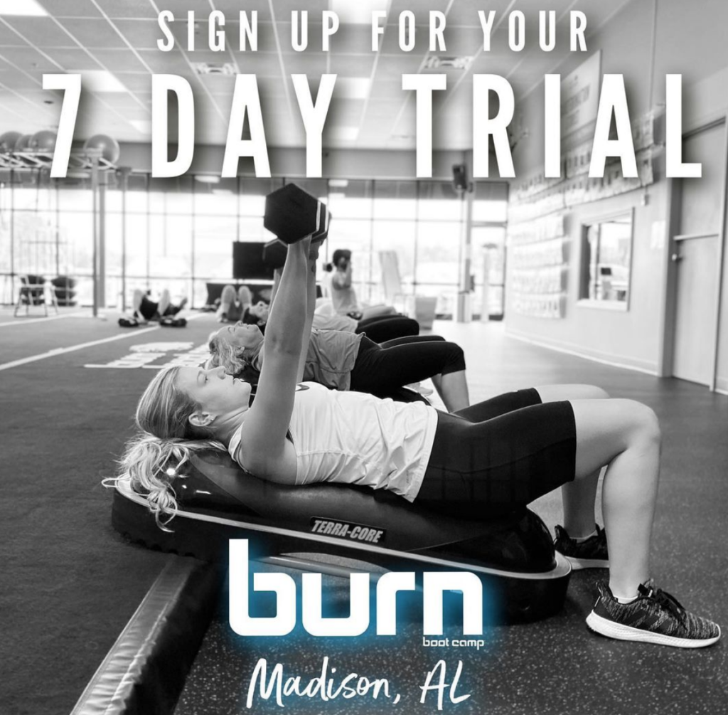 "Burn Boot Camp in Madison, Alabama is a fitness facility that offers 45-minute ""camps"" throughout the day where participants are coached throughout their workout in a group setting with nonstop movement. Trainers demonstrate moves and then walk around helping with modifications, technique, and overall motivation."