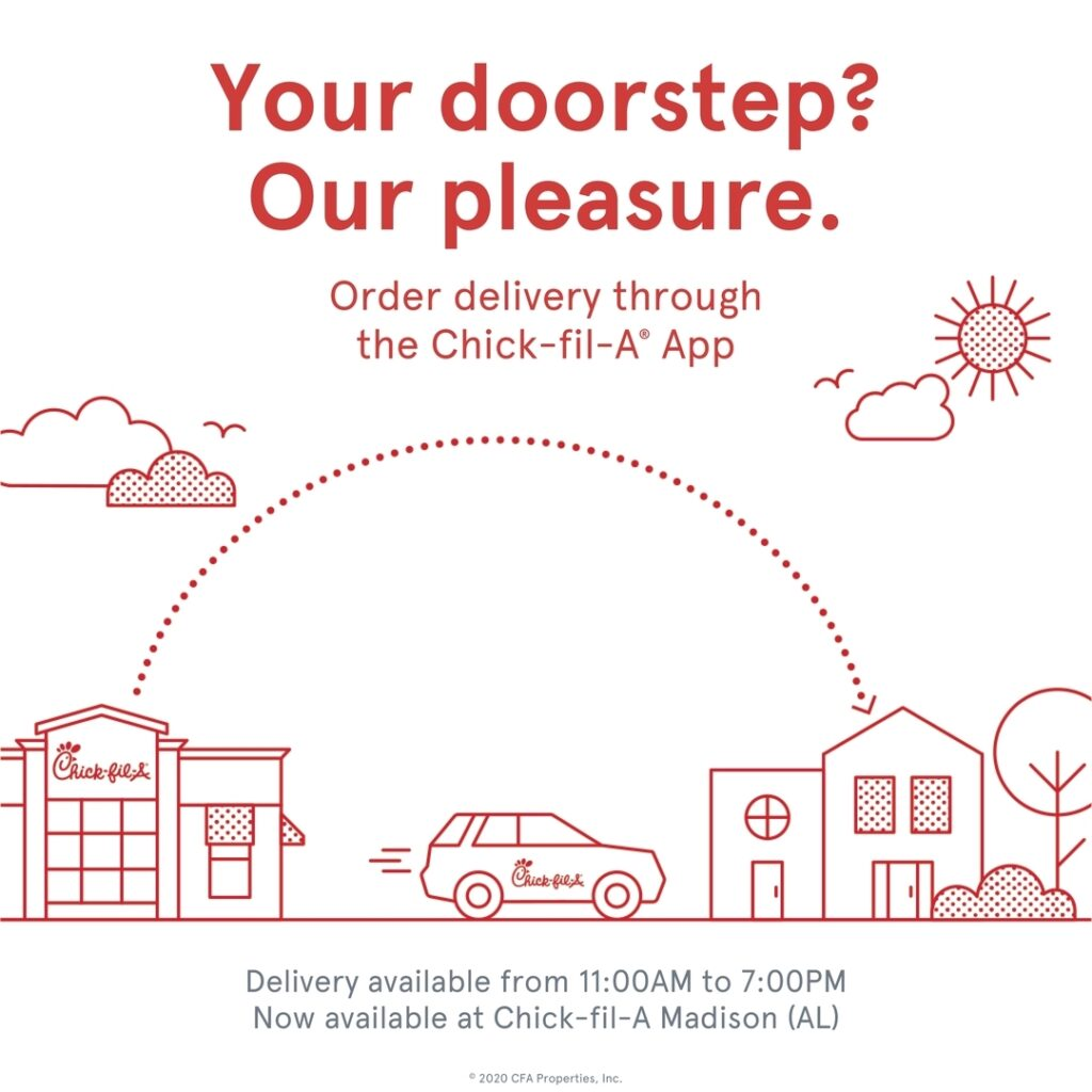Chick-fil-A Delivery Service details | Chick-fil-A has recently hired a handful of employees specifically to facilitate deliveries. Customers within a five-mile radius of either store can use their Chick-fil-A app to order their desired items, select a time for delivery, and then receive it on their porch during the selected time span.